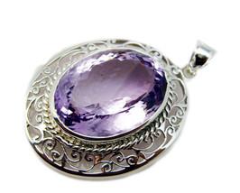 Fine 925 Sterling Silver Amethyst Gemstone Pendant Jewelry FSTHU25MJP90 - $109.69