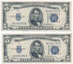 1934-C $5 FIVE DOLLAR SILVER CERTIFICATES-SEQUENTIAL CRISP AU+ PAIR! INV:4 - $109.95