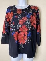 Rebecca Malone Womens Size L Black Floral Knit Blouse 3/4 Sleeve - $15.84