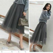 2019 Spring Summer Vintage Skirts Womens Elastic High Waist Tulle Mesh Skirt image 5
