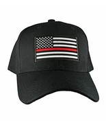Lot of 2 Thin Red Line Hat USA Fire Department American Black Embroidere... - $27.22