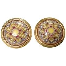 Vintage Hermes round shape cloisonne enamel golden earrings with mosaic ... - €240,30 EUR