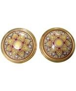 Vintage Hermes round shape cloisonne enamel golden earrings with mosaic ... - $292.00