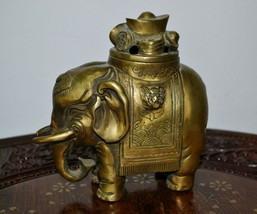 Vintage Bronze Statue Incense Burner Elephant Caring Gold and Lucky Coins - $93.06