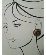 VINTAGE FASHION CLIP EARRINGS GOLD TONE FILIGREE OVERLAY ON AMBER BUTTONS - $20.00