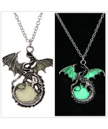 Game of Throne dragon Retro luminous pendant necklace Silver Sweater Cha... - $6.14