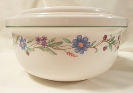 "Ava by Oneida Set of 3 Mixing Bowls 9"" 8"" 7"" Blue & Purple Flowers Green Band  - $43.47"