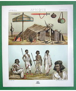 AFRICA Costume of Nubia Tent Arms - COLOR Litho Antique Print A. Racinet - $12.60