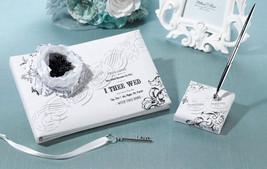 True Love guest book and pen set black & white design wedding guest book - $28.69