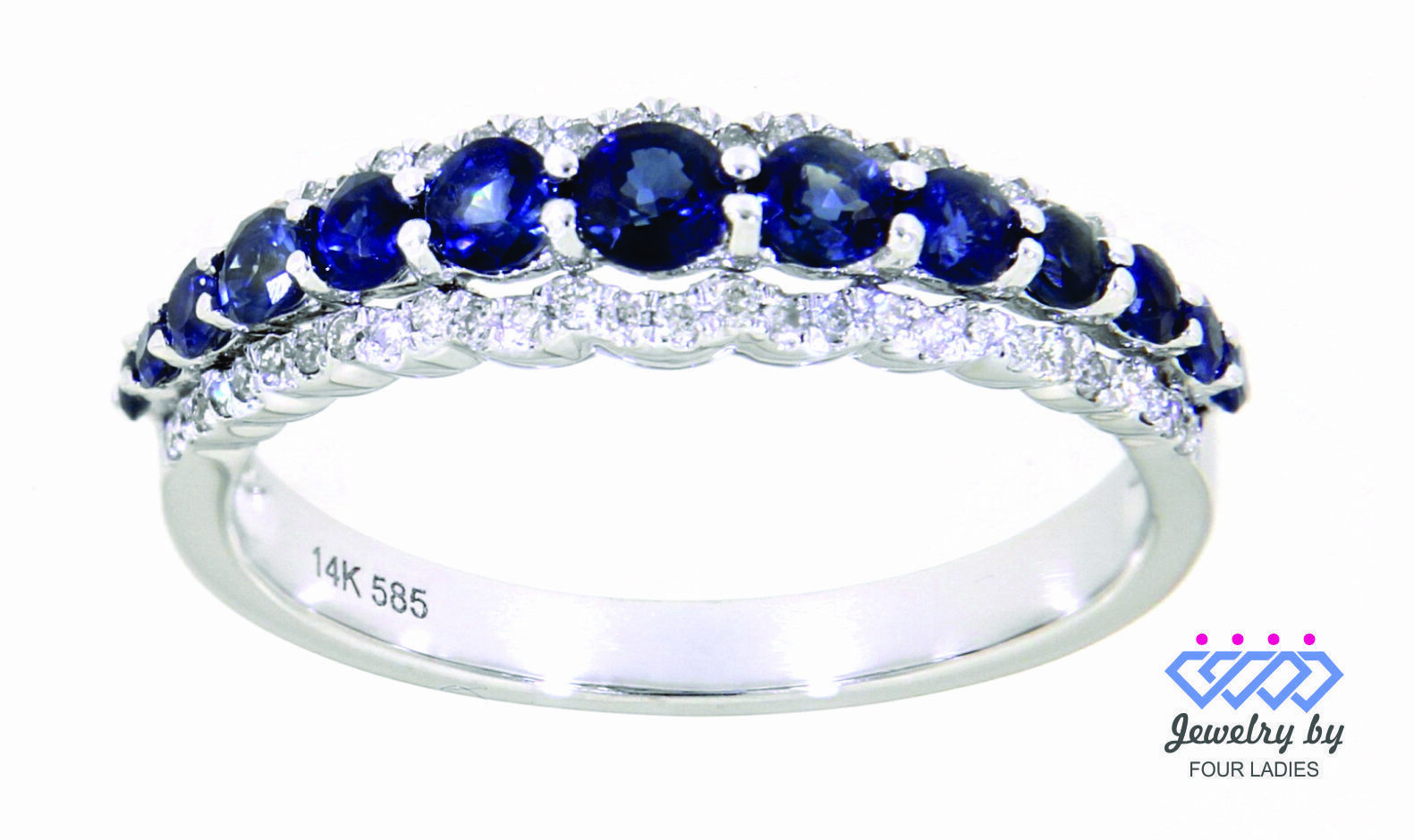 Primary image for Blue Sapphire Birthstone 14K White Gold 0.79CT Natural Diamond Designer Ring