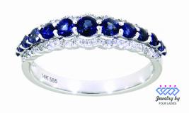 Blue Sapphire Birthstone 14K White Gold 0.79CT Natural Diamond Designer ... - $1,825.00