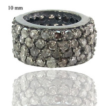 10 mm Natural 0.92 ct Diamond Pave Designer Bead Spacer Silver Findings ... - $149.60
