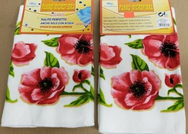 2 SAME MICROFIBER MULTIPURPOSE CLEANING CLOTHS, PINK FLOWERS, H&D - $9.89
