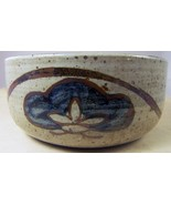 Artisan Studio POTTERY STONEWARE BOWL Dish Earth-tone Colors Lotus Flowe... - $16.68