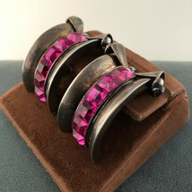 Retro 1940s Clipon Vintage Earrings Shocking Pink Crystal Paste Sterling... - $108.90