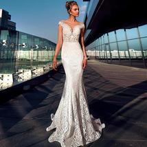 Modern Lace Jewel Neckline Mermaid Wedding Dresses See Through Bodice Illusion B image 2