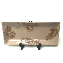 St. Nicholas Square Winter Cabin Pine Cone Hand Painted Serving Platter - $29.70