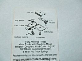 Kadee # 510 Andrews Metal Trucks With #148 Whisker Couplers 1 Pair HO Scale image 4