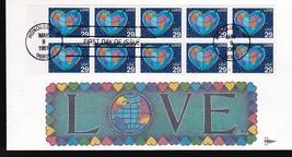 LOVE, HEART-SHAPED # 2535 PANE OF 10 HONOLULU, HI MAY 9, 1991 GILL CRAFT - $3.54