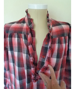 Cin Cin Womens Flannel Long Night Gown Size Large Red & Blue Plaid Set ... - $45.99