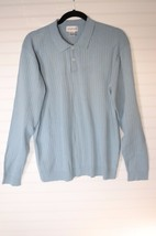 Alfani Polo Longsleeve Lightweight Sweater Baby Blue M Medium  100% Cotton - $16.82