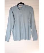 Alfani Polo Longsleeve Lightweight Sweater Baby Blue M Medium  100% Cotton - $16.82
