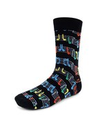 Urban-Peacock Men's Novelty Fun Crew Socks - Music Sheet - Black with co... - $9.95
