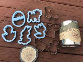 5 Spring Easter Blue Plastic Cookie Cutters 4 Christmas Metal in Old Nav... - $5.93