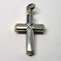 Pendentif Croix en or Blanc et Rose 18K 750 Crucifix Stylisé Fabriqué en Italie image 7