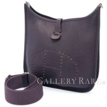 HERMES Evelyne 3PM Taurillon Clemence Raisin Shoulder Bag France #T Auth... - £1,841.69 GBP