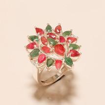 Natural Pink Ruby, Green Emerald 925 Sterling Silver Wedding Women Jewel... - $35.21