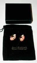 Joan Rivers Faux Coral Gold And Crystal Gorgeous Clip On Earrings - $46.06
