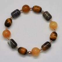 Bracelet in Sterling Silver 925 Laminate Rose Gold with Tiger's Eye Jade Chal... image 7