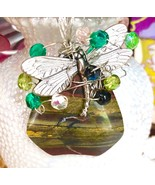 Dragon fly charm wire wrapped on brown stone pendant with crystals 925 s... - $16.25