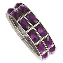 Ladies Purple Epoxy Stones Silver Tone 1928 Boutique Stretch Bracelet - ₨2,144.69 INR
