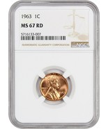 1963 1c NGC MS67 RD - Lincoln Memorial Small Cents (1959-2008) - $480.15