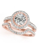 925 Silver Rose Gold Plated Round White Sim Diamond Bridal Engagement Band Ring - $90.99
