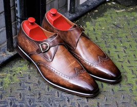 Burnished Brown Genuine Leather Wing Tip Men Single Buckle Strap Monk Shoes - $139.90+