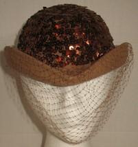 Vtg Womens Brown Felt Copper Sequins with Netting Wool Felt Hat - $18.81