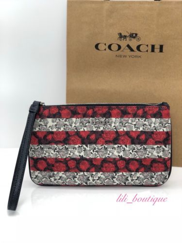 Primary image for NWT Coach F30255 Large Wristlet Wallet Canvas Floral Rose Stripe Red Multi $125