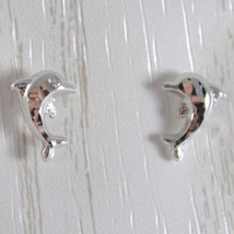 White Gold Earrings 750 18k Stud with Dolphin Hammered, Length 9 MM image 1