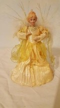 """VINTAGE SMALL 8"""" PORCELAIN CHRISTMAS TREETOP ANGEL ORNAMENT, GOLD, FEATH... - $14.84"""