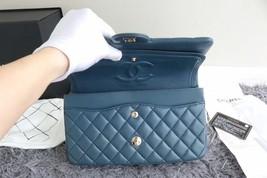AUTHENTIC CHANEL TURQUOISE BLUE LAMBSKIN MEDIUM DOUBLE FLAP BAG GOLD HW RARE image 7