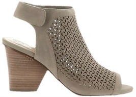 Vince Camuto Perforated Leather Peep-Toe Sandals Dastana Grey 9.5M NEW A... - $74.23