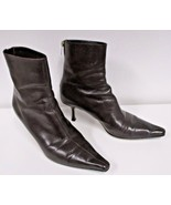 JIMMY CHOO Brown Leather Ankle Boots with Squarish Toe - Size 38.5 - $99.99