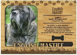 English Mastiff Engraved Wood Picture Frame Magnet - $11.58