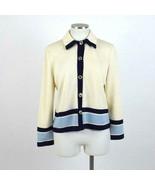 Vtg 90s St John Ivory Cardigan Sweater Jacket Blue Stripe Jumper Top Wom... - $54.44