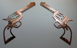 Pair of Colt 1873 Peacemakers Metal Wall Art Decor Copper/Bronze Plated - $24.99