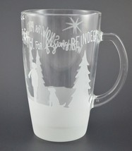 Starbucks Coffee Mug Cup Wish for Snow Peace Reindeer 2009 Glass Etched 12oz - $19.83