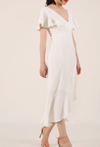 White V-neck Long Cocktail Dress Chiffon Retro Style High Waist Cocktail Dresses image 2
